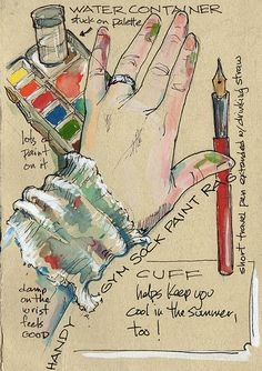 Clever idea for travel sketching with water colors - use an old sock as a rag on your wrist!