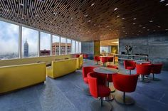 Trendy Executive Lounge at the Hilton Mexico City Reforma, with breath-taking views of the city.