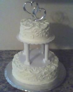 White Almond Sour Cream Wedding Cake.  The link provides an area that you can change the number of servings so you don't end up with so much cake like I did.  Also, I did add an extra teaspoon of Almond Extract because I love the flavor.  Enjoy!  Kim