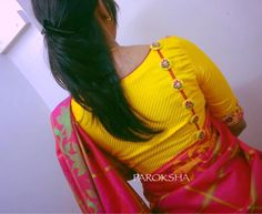 Beautiful yellow color designer blouse with unique design. 11 October 2017