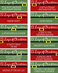 During the busy holiday season, be sure to take some time for your sweetie with this free set of Christmas Coupons for couples. Romantic Christmas Gifts, Romantic Gifts For Him, Christmas Gifts For Couples, Naughty Christmas, Christmas Lingerie, 12 Days Of Christmas, Diy Christmas Gifts, Christmas Ideas, Romantic Ideas