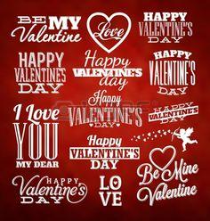 Set von Valentines Typographic Design-Vorlagen Stockfoto