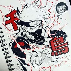 Happy New Year to you all 🎉 🌩Hatake Kakashi🌩 . Naruto Drawings, Kakashi Drawing, Naruto Sketch, Anime Sketch, Ink Drawings, Anime Naruto, Naruto Art, Manga Anime, Manga Art