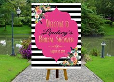 PRINTABLE Welcome Bridal Shower Poster, Welcome Poster, Rustic Wedding Printable, Black and White Striped Wedding by inkmebeautiful on Etsy https://www.etsy.com/listing/241808851/printable-welcome-bridal-shower-poster