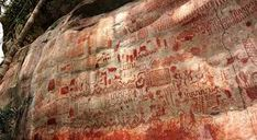 Rock Painting at Cerro Azul, Guaviare, Colombia Ancient Ruins, Ancient Artifacts, Anaconda, Prehistoric Period, Foto Real, Sun Art, Mystery Of History, Ancient Civilizations, Science And Nature