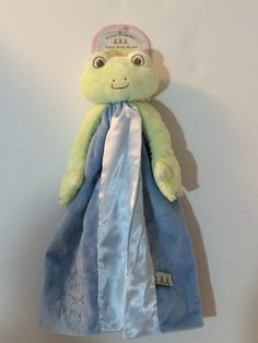 Bunnies By The Bay Tabbit's Buddy Blanket, BLUE Frog Lovey Blanky Security Blanket Crib toy - Personalized by CACBaskets on Etsy