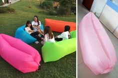 This inflatable comfy air soft bag sofa is perfect for relaxing outdoors. Take it to the beach, camping, road trips, or hanging in the back yard. Pick from 14 fun colors at pickyourplum.com