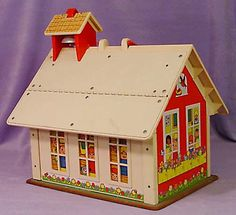 Little People School with magnetic roof & plastic magnetic letters.