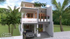 Home Design Plan with 4 Bedrooms - SamPhoas Plan One Storey House, 2 Storey House Design, House Front Design, Small House Design, Narrow Lot House Plans, New House Plans, Home Building Design, Home Design Plans, Modern Bungalow House Design