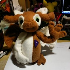 My name is D and I am a Drugo. Thar meens a Dragon Ugo. Plushies, Hand Stitching, Milk, Dragon, Creatures, Teddy Bear, Purple, Heart, Brown