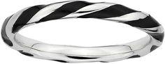 JCPenney FINE JEWELRY Personally Stackable Sterling Silver Black Enamel Twist Ring