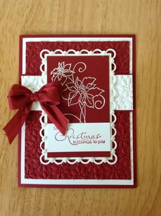 Stampin Up handmade Christmas card - red and white poinsettias