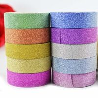 5Roll 15mm Glitter Tape mix 5colors Glitter Adhesive tape Scrapbook DIY Sticker Deco Masking Japanese Paper Washi Tape