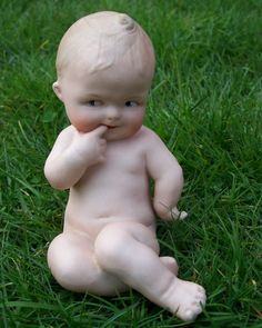 HEUBACH ANTIQUE GERMAN BISQUE PIANO BABY FIGURINE ***SOLD!***