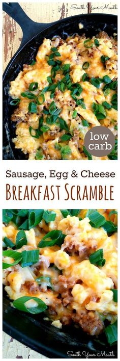 {Low Carb} Sausage Breakfast Scramble with sausage, eggs and cheese! Recipe also includes variations for Mexican and Italian breakfast scrambles as well.