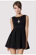 #Chicwish  Black Sleeveless Pleated Skater Dress
