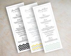 Cartes de menu de Chevron, carte de menu imprimable, menu de réception de mariage vert, Chevron à la menthe