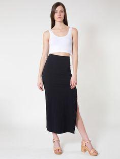 Cotton Spandex Slit Maxi Skirt, Crop Tank  amp  Wooden Heel.   AmericanApparel Cotton 7cf3ffea1491