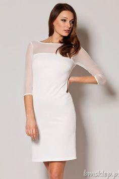 Elegancka, a zarazem seksowna sukienka dostępna w kolorze czarnym i ecru. - klasyczny, dopasowany krój - #rekaw o długości 3/4 - #dekolt łódka - góra z delikatnej siateczki tiulowej - elastyczna #dzianina - z tyłu pęknięcie w kształcie łezki, zapinane na guziczek - sukienka zapinana z tyłu na kryty #zamek Skład: 95% #poliester, 5% elastan.... #Sukienki - http://bmsklep.pl/sukienki