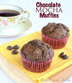 Chocolate Mocha Muffins - decadent chocolate and coffee muffins to start out the day