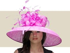 ELIZABETH - Sinamay Hat with Feather Spray from Nigel Rayments Couture Line.
