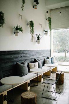 KIM LEWIS DESIGNS | Juice Society Cafe Shop Design, Coffee Shop Interior Design, Juice Bar Interior, Cafe Interior, Cafe Bar, Industrial Coffee Shop, Industrial Cafe, Cat Ideas, Juice Bar Design
