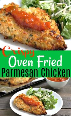 Skip restaurant prices and make Crispy Oven Fried Parmesan Chicken at home. It bakes crispy and golden in a cinch taking the stress out of mealtime. Fried Chicken Parmesan, Crispy Oven Fried Chicken, Oven Chicken, Baked Chicken Recipes, Recipe Chicken, Chicken Dips, Chicken Meals, Keto Chicken, Crispy Oven Fries