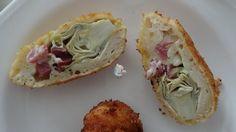 Receta casera de alcachofas rebozadas y rellenas de jamón serrano