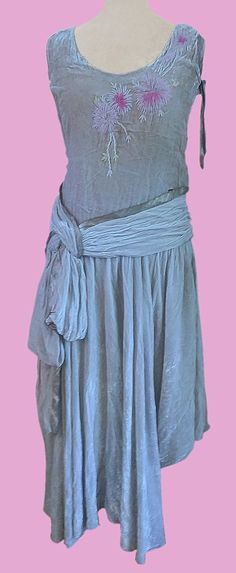 1920s Panne velvet dress with lame ribbons and flower embroidery.