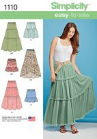 Misses' Tiered Skirt with Length Variations