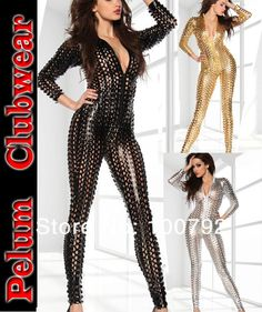 f500402fc049 Aliexpress.com   Buy free shipping Black Gold silver wet look metal liquid  lame cut · Wet LookSkin TightCatsuitJumpsuitSexy ...