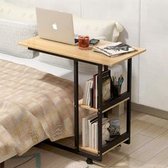 Fashion Multi-function Side Table Bedside Laptop Table Home Simple Computer Desk Folding Mobile Small Desk With Storage Rack (China) Bookshelf Table, Desk Shelves, Computer Desks For Home, Home Desk, Bedside Storage, Table Storage, Storage Rack, Hensvik Ikea, Portable Laptop Table