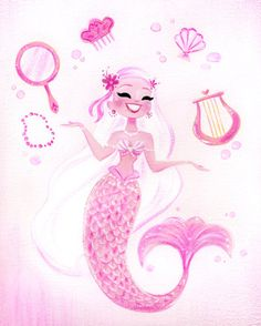 All mermaids need their essentials! :) This is an 8x10 digital print of an original gouache painting. It will come printed on Epson Velvet Fine Art