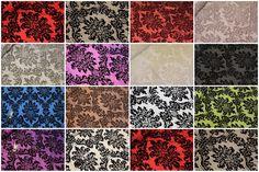 Victoria Floral Taffeta Damask Velvet Flock Upholstery Curtain Fabric Material | eBay