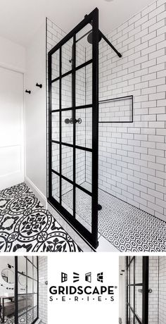 Gridscape Fixed Shower Screen Panel in Black with Clear Glass Coastal Gridscape Splash Panel Glass Divider with Black Factory Window Frame Beautiful Bathrooms, Modern Bathroom, Small Bathroom, Bathroom Showers, Bathroom Black, Bathroom Mirrors, Minimalist Bathroom, Glass Bathroom, Master Bathrooms