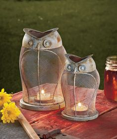 Rustic Owl Candle Lanterns | The Lakeside Collection