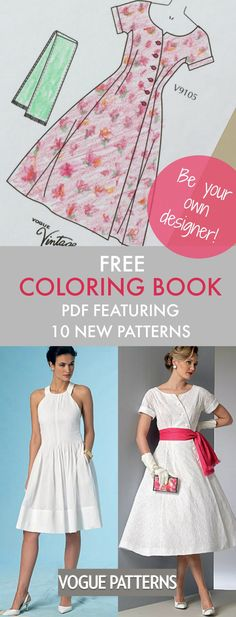 """Download this free """"coloring book"""" PDF featuring high-res line art illustrations of 10 patterns from the new Summer Vogue Patterns Collection. Use this to plan, color and doodle your sewing ideas. Have fun!"""