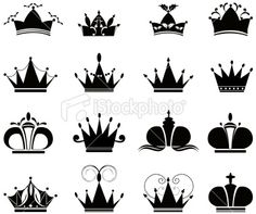 black crown icons Royalty Free Stock Vector Art Illustration