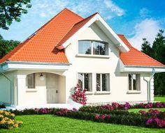 Proiect-casa-cu-Mansarda-18011-perspectiva2 Flat House Design, House Outside Design, Dream Home Design, House Doors, Facade House, Home Building Design, Building A House, Bungalow Style House, House Design Pictures