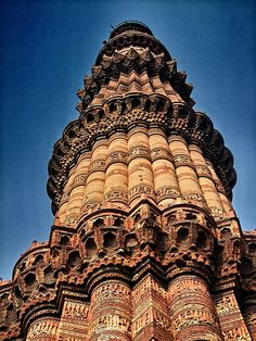 Qutub Minar, an iconic landmark and towering minaret ... Delhi, India