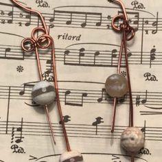 handmade, hammered copper drops, earrings