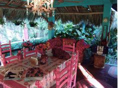 """Betsey Johnson's Mexico City Villa called """"Betseyville"""" - Dining Room (pink yet again!)"""