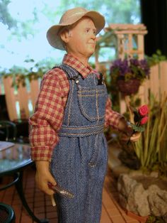 Miniature 1:12 scale Farmer John doll by Karin Smead