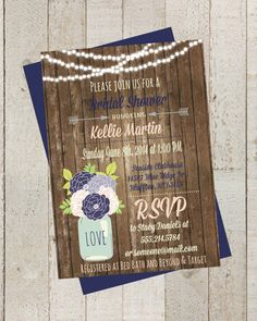 Rustic Bridal Shower Invite Invitation with by themilkandcreamco, $10.00 Rustic Bridal Shower Invite, Invitation with Flowers, Navy Blue & Blush, Digital File, Rustic Wood Wedding, String Lights Invite
