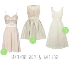 More high street wedding dresses for the budget bride! :) statement shoes and bare legs dresses.