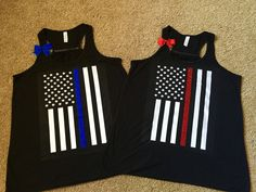 Thin Red Line  Thin Blue Line  Flag Shirt  by IndestructibleMe