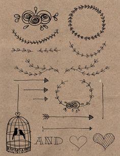 Rustic/DIY Hand Drawn Wedding Invitation Clipart. by WillowAndRose