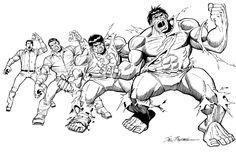 Sal Buscema – Hulk Transformation Comic Art