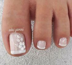 Almond Nails Designs, White Nail Designs, Colorful Nail Designs, Simple Nail Designs, Acrylic Nail Designs, Acrylic Nails, Wedding Toe Nails, Wedding Toes, Summer Toe Nails