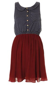 Polka Dot & Burgundy Pleated Vintage Dress ($20-50) - Svpply    aawnn i love the colors